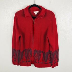 Coldwater Creek Size Large Red Zip Front Sweater